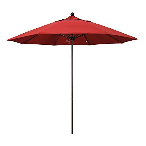 California Umbrella 9' Round Aluminum/Fiberglass Umbrella, Push Open, Bronze Pole, Olefin Red Fabric