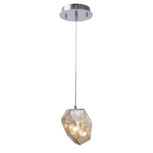 - Royce Edge 1 light Polished Nickel + Copper shade Pendant golden teak, Polished Nickel, royal cut crystals