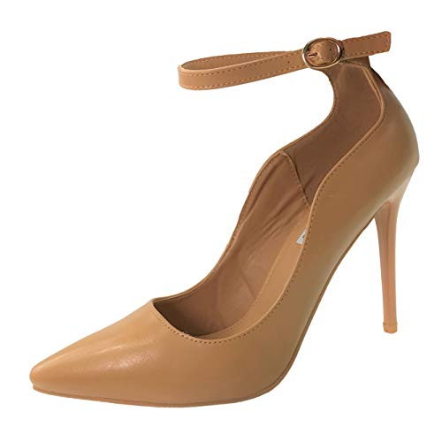 Womens Classic Elegance High Heel Pumps with Ankle Strap, Tan, 5