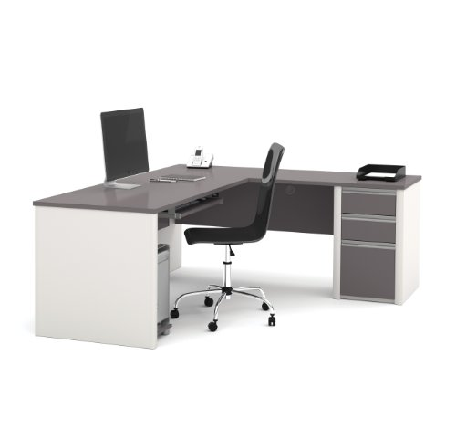 Bestar 93880-59 Connexion L Shaped Desk with Three Drawers, Slate/Sandstone
