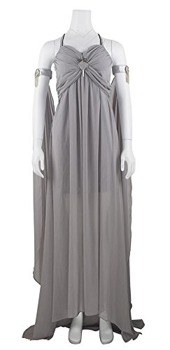 Women's Daenerys Targaryen Costume, Deluxe Halloween Dragon Queen Cosplay Dress Gray (Medium) ()