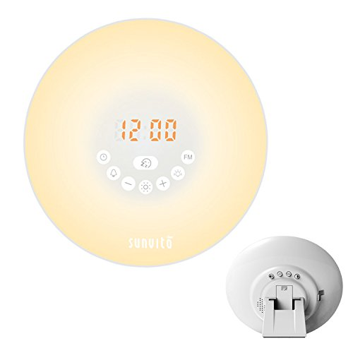 Sunvito Wake Up Light Sunrise Alarm Clock 7 Colors Night Light with Nature Sounds,Snooze Function,FM Radio,Touch Control and USB Charger