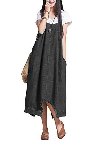 急襲好ましい天才EASONDDD レディース デニム素材 サロペット オールインワン ワイドパンツ サルエル パンツ ガウチョ サロペ ワンピース ロング丈 キャミ スカート ゆったり かわいい マタニティ カジュアル 大きいサイズ