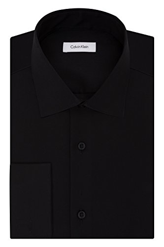 Calvin Klein Men's Non Iron Regular Fit Herringbone French Cuff Dress Shirt, Black, 17.5