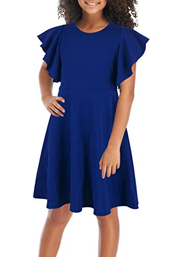GORLYA Girl's Flutter Sleeve Stretchy A-Line Swing Flared Skater Party Dress with Pockets for 4-12 Years Kids (GOR1019, 6-7Y, Blue Color) -