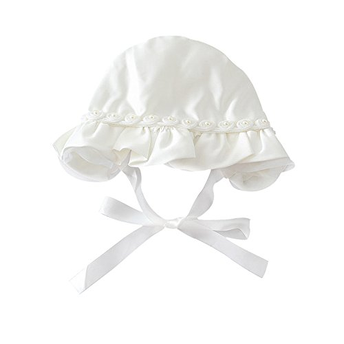 (Ronlin Baby Hat, White Sun Protection with Chin Strap Infant Hat for 0-12 Months)
