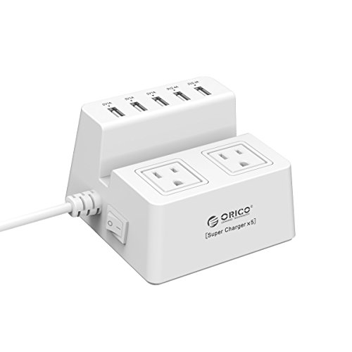 ORICO 40W 5 USB Charging Ports Power Strip and 2 AC Outlets Surge Protector with Stand