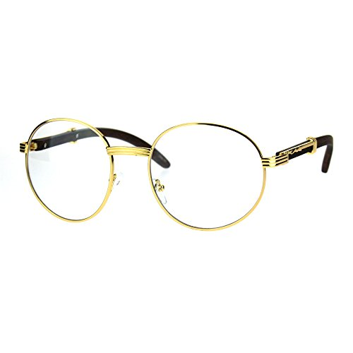Mens Large Round Wood Buff OG Gangster 90s Luxury Clear Lens Glasses Yellow - Buffs The Glasses