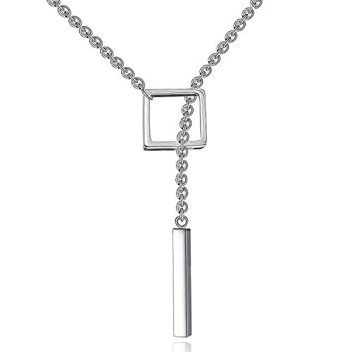 (Y-blue 925 Sterling Silver Women Lady Fashion Round or Triangle and Cylindrical Pendant Necklaces Chain (Square + Cylindrical))