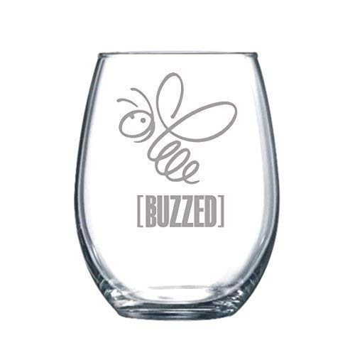 17 oz Buzzed Funny Gift Laser Etched Wine Glass