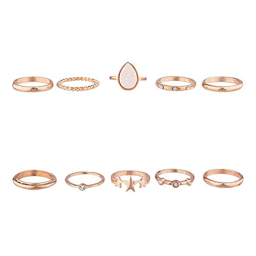 (Lux Accessories Pink Rose Gold Druzy Star Celestial Novelty Stackable Bohemian Vintage Rings Set (10pc))