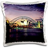 Sydney Bath (ToryAnne Collections Famous Landmarks - Sydney, Australia purple and pink sunset - 16x16 inch Pillow Case)