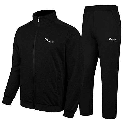 Black Zip Sweat - YSENTO Men's Activewear Tracksuit 2 Pieces Full Zip Athletic Sweat Suits Set Black Size M