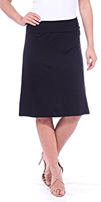 Popana Women's Casual Stretch Midi Knee Length Short Summer Skirt - Made in USA