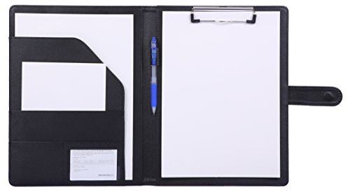 Padfolio Clipboard Folder Portfolio, Mymazn Faux Leather Storage Clipboard with Cover for Legal Pad Holder Letter Size A4 Writing Pad for Business School Office Conference Notepad Clip Boards (Black) by Mymazn