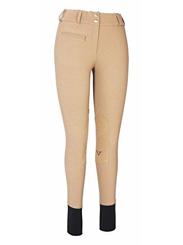 Rise Low Breech (TuffRider Women's Ribb Lowrise Wide Waistband Knee Patch Breech, Taupe, 24)