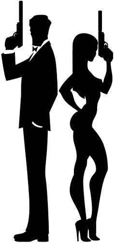 (Sexy Fancy Man Woman Spy Couple Holding Guns Silhouette Cartoon Vinyl Sticker (2