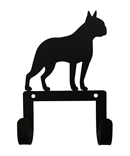 Accents Wrought Iron Single - Village Wrought Iron 6 inch Boston Terrier Silhouette Leash and Collar Wall Hook