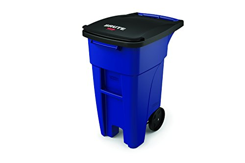 l Products BRUTE Step-On Rollout Waste/Utility Container, 32-gallon, Blue (1971943) (32 Gal Brute Waste Container)
