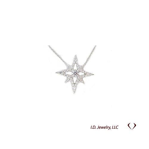 0.81CT Diamond Star Pendant In 18K White - Pendant Star Diamond White Gold 18k