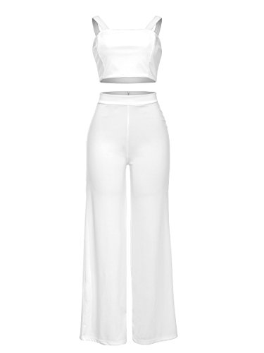 Spaghetti Strap Solid Crop Top Wide Leg Pants Set 2 Piece Outfits for Women White, (70's Workout Outfits)