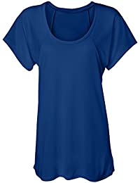 Crystal Flowy Raglan Dolman Scoop Neck Tee Top