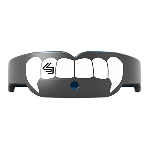 Shock Doctor 6400 Gel Nano Mouthguard With Tether, Pearl Carbon/White Fang, (Shock Doctor Gel Nano)