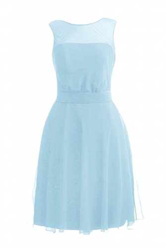 BM4090 Jewel Neckline Party Bridesmaid Blue Dress 40 Dress Chiffon ice DaisyFormals Short AXS8RR