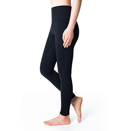 Fantasfit High Waist Yoga Pants with Pockets for Women Squat Proof Workout Leggings Tummy Control Trouser (M, Black)