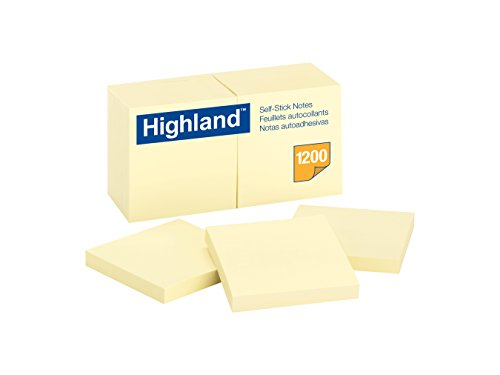 - Highland Notes, 3 x 3 Inch, Yellow, 12 Count (6549)