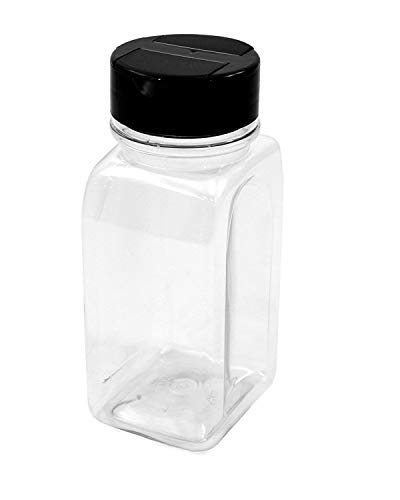 (2 Pack - 16 OZ Clear Plastic Spice Bottles Jars Containers - Flap Cap, Pour and Sifter Shaker, Refillable. Perfect For Storing and Dispensing Herbs and Spices - BPA Free )