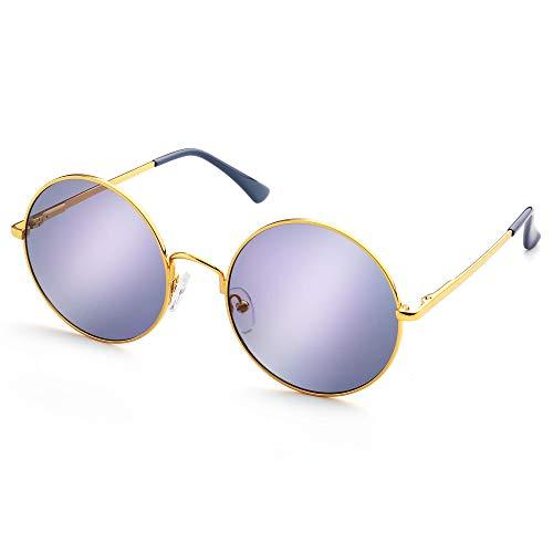 LotFancy Round Mirrored Sunglasses for Women Men, Round