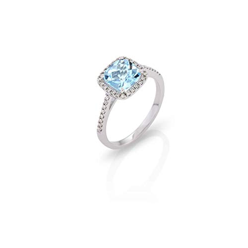 Ring 18Kt White Gold with Blue Topaz and Diamonds Coctail ring