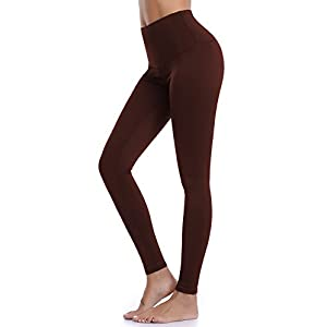 Aenlley Womens High Waist Yoga Pants Tummy Control Workout Training Tight Leggings Color Brown Size L