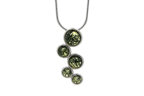 925 Sterling Silver Circles Pendant Necklace For Women with Green Genuine Natural Baltic Amber. Chain Included