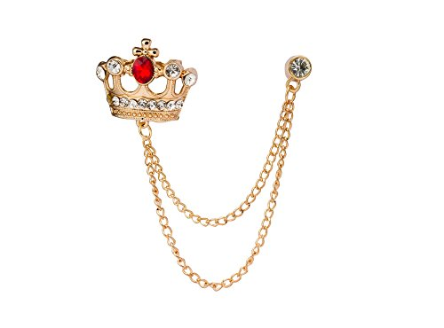 Knighthood Men's Golden Crown with Red Stone and Hanging Chain Brooch Golden