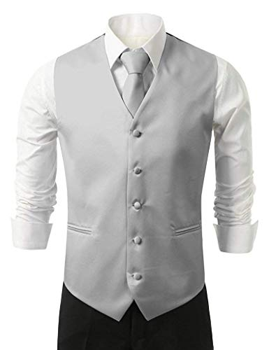 Vest Hanky Loop E Slim ​​con Da Size Uomo V Smoking 5xl Silber Collo Fit Knoepproof Elegante color Suit 5 Giovane Tie Gilet ZnzAX8PW00