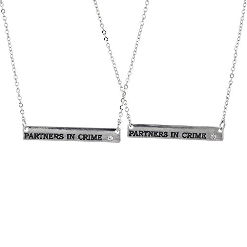 Lux Accessories Silver Tone Partners in Crime Bar Best Friends Necklace Set 2PC