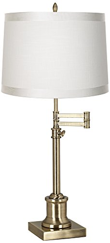 Westbury Off-White Shade Brass Swing Arm Desk Lamp