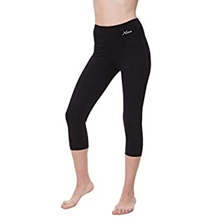 NIRLON Capri Leggings for Women High Waist Workout Capri's Yoga Pants 3/4 Length Regular & Plus Size (M, Black)
