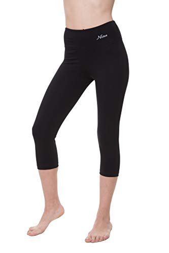 NIRLON Capri Leggings for Women High Waist Workout Capris Yoga Pants Plus Size (M, Black 18