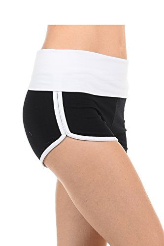 EttelLut Athletic Curves Trimming Hot Yoga Shorts: Workout Exercise Running Walking Track Dance Jogging Tight Blk/White - Womens Tri Suit Sale