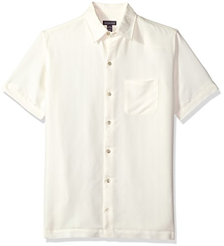 Van Heusen Men's Air Short Sleeve Button Down Poly Rayon Stripe Shirt, Cream Egret, Small
