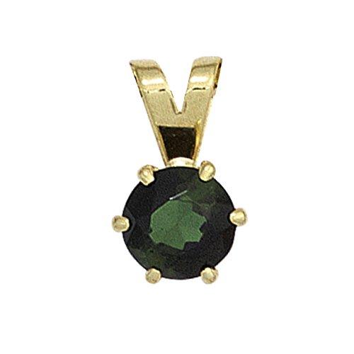 JOBO pendentif en or jaune 585 tourmaline 1 vert