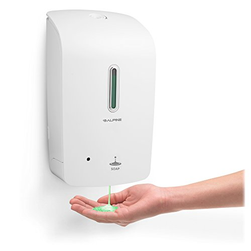 Alpine Wall Mountable, Touchless, Universal Liquid Soap Dispenser for Offices, Schools, Warehouses, Food Service Facilities, and Manufacturing Plants - White by Alpine Industries