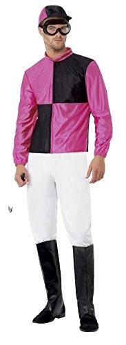 Mens Pink Jockey Uniform Sports Stag Do Horse Racing Grand National Ascot Fancy Dress Costume Outfit M-L (Medium)]()
