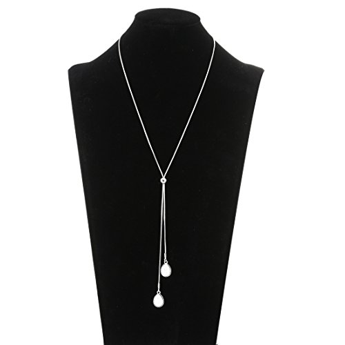 Silver Chain Lariat (Lariatneck Long Necklaces for Women Y Lairt Necklace Silver Casual Snake Chain Adjustable Druzy Drop Pendant)
