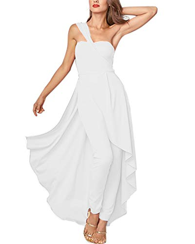 (GIKING Dressy Pant Suits for Women,Sexy Ruffle Strapless High Waist Clubwear Long Rompers White XL)