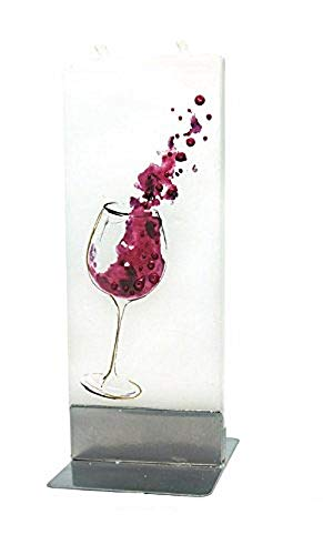 Glass of Wine Motif Twin Wick Handmade Flat Candle Approx 6