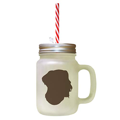 Brown German Wirehaired Pointer Silhouette Frosted Glass Mason Jar With Straw